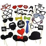 Katara 1668 - Party Foto Verkleidung Schnurrbart Lippen Brille Krawatte Hüten Photo Booth Props Set Hochzeit Partymitbringsel, 31-teilig