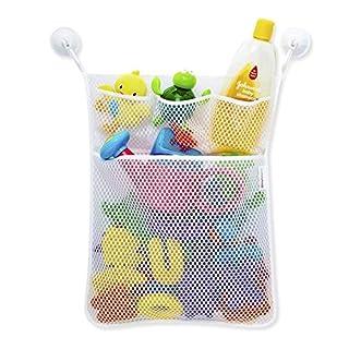 D&&R Bath Tub Toy Storage Mesh Bag Tidy Suction Net, Toy Mesh Net Storage Bag, Baby Bath Toy Organiser from, 2 Bonus Strong Hooks, 13 X 18 inches
