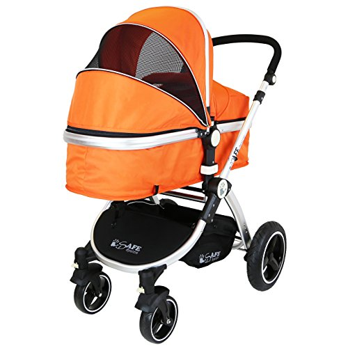 i-Safe System - Orange Trio Travel System Pram & Luxury Stroller 3 in 1 Complete With Car Seat + Footmuff + Carseat Footmuff + RainCovers  iSafe