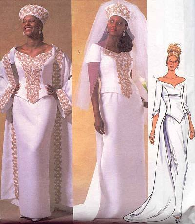 Butterick Pattern B 4229 Wedding Gown Coat, Top, Skirt, Detachable Train, Hat and Veil. Size 8,10,12 by
