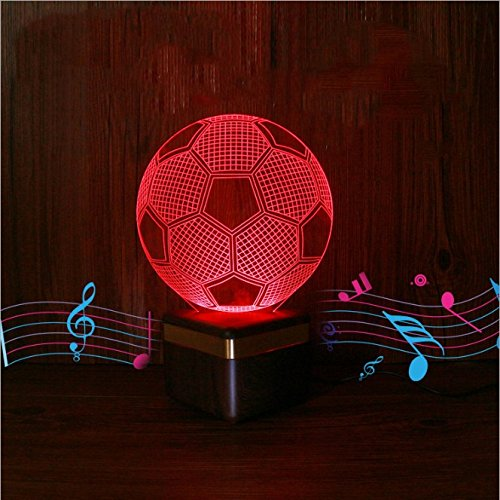 Lautsprecher-installation (3D Nachtlicht Smart-Lautsprecher 3D-Nachtlicht Fußball-Nachtlicht 3D-Vision LED Acryl transparentes Panel USB-Netzteil, Scan-Code Installation Telefon APP-Steuerung 10m Fernsteuerung)
