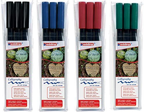 edding 1255 Kalligrafie-Stift - Farbe: schwarz, karmesin rot, blau und flaschengrün - Ideal für Kalligraphie und Lettering auf nahezu allen Oberflächen - Made in Germany