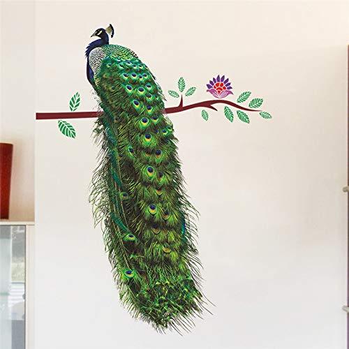e Zweig Federn Wandaufkleber Für Wohnzimmer Schlafzimmer Aufkleber PVC Wandkunst Poster 3D Lebendige Tiere Dekoration ()