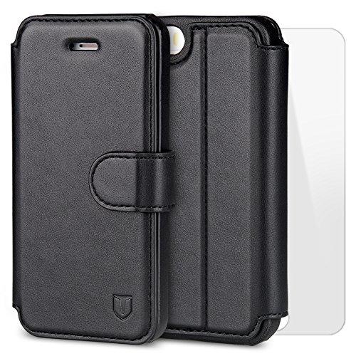 TANNC Funda iPhone 5 Funda iPhone 5S Funda iPhone SE con Protector de Pantalla de Vidrio Templado Slim Case de Estilo Billetera con Ranuras para Tarjetas, Soporte Plegable, Cierre Magnético Funda APPLE IPHONE 5 / 5S / SE -