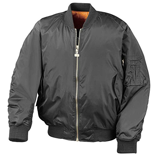 Result Mens Padded Water Repellant Flying Classic Bomber Style Jacket Black