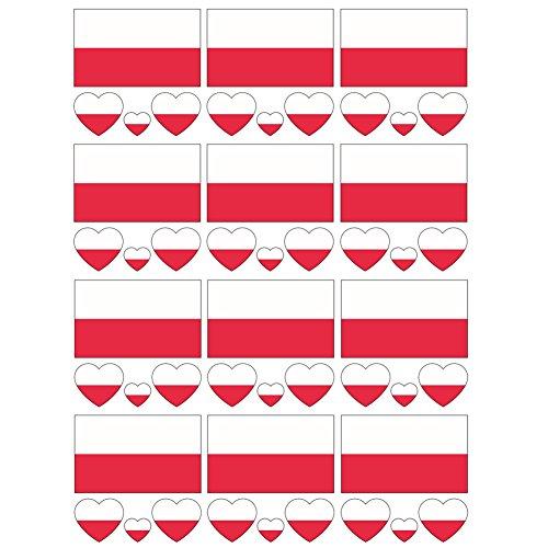 SpringPear 12x Temporär Tattoo von Flagge Polens für Internationale Wettbewerbe Olympischen Spiele Weltmeisterschaft Wasserfeste Fahnen Tätowierung Flaggenaufkleber WM Fan Set (12 Pcs) (Fahne Tattoo)