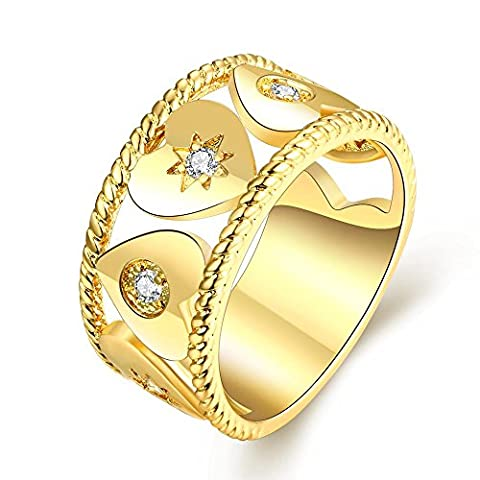 Thumby Geometric Zircon Ring for Women,Gold Plated,8