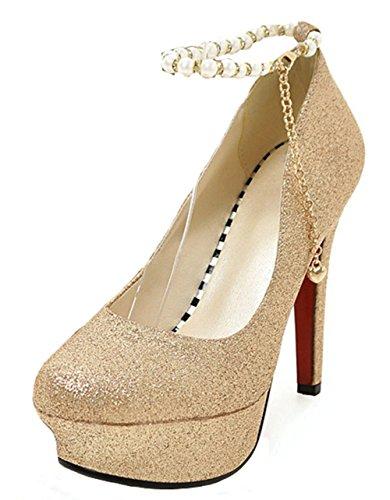 Aisun Damen Sexy Künstliche Perlen Kette Plateau Stiletto Gold 39 EU zfd1vUoM