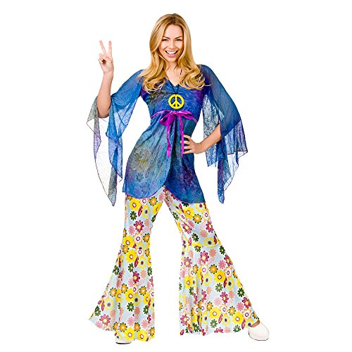 Hippy Flares & Top Outfit Woodstock Adult Sexy Ladies Fancy Dress (Fancy Adult Sexy Dress)