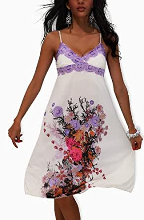 Ladies White Floral Pattern Summer Maxi Dress UK 10-12 Blue & Lilac Available (White & Lilac)
