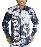 Batik Langarmhemd 70er Hippie Look blau XXL