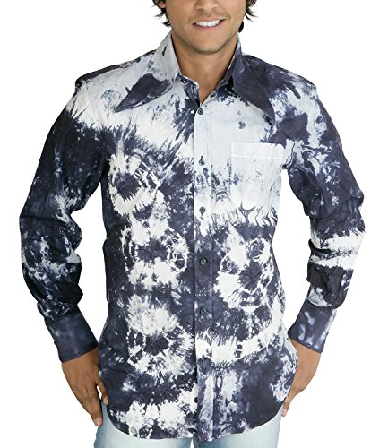 Comycom Batik Langarmhemd 70er Hippie Look blau XL