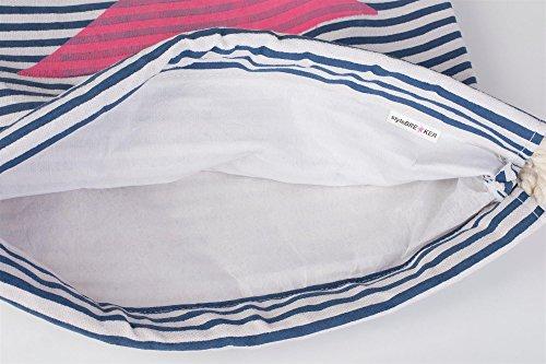 styleBREAKER zaino sportivo dal design marinaresco a righe con stampa di stella, borsa da sport, unisex 02012053, colore:Petrolio-Bianco / Oro Marino-Bianco / Rosa