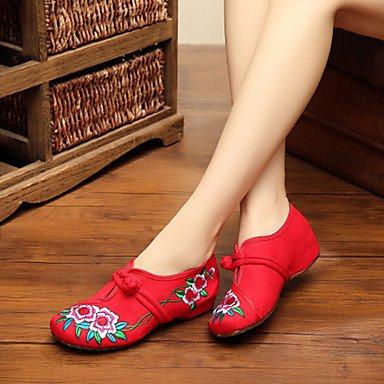 Confortevole ed elegante piatto scarpe scarpe donna tela Primavera / Estate / Autunno Mary Jane / Comfort Appartamenti Casual tacco piatto fibbia / Fiore nero rosso a piedi Black