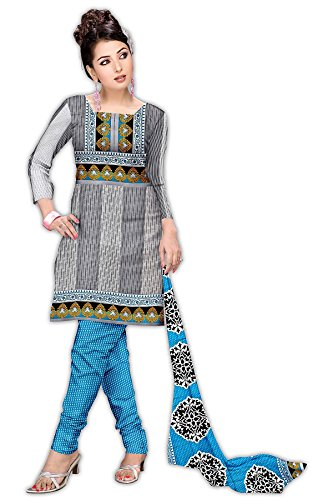 Varshia Women's Synthetic Un-Stitched Salwar Suit [Vp22_White & Grey_Free Size]