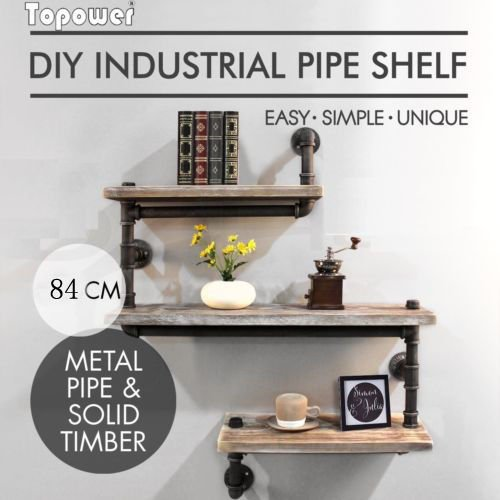 Industrial de tubo tubo de estantería estante para libros rústico moderno madera Escalera estante 3niveles ironpipe forjado diseño estantería de pared con estantería