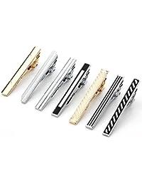 PiercingJ - 7PCS/10PCS Epingle Pinces a Cravate Poli Poignet Col Manchette Chemise Clip Tie Acier Inoxydable Elegant Cadeau Homme Argent Noir
