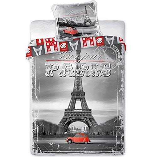 Parure de lit Paris Tour Eiffel - Housse de couette réversible lit 1 personne
