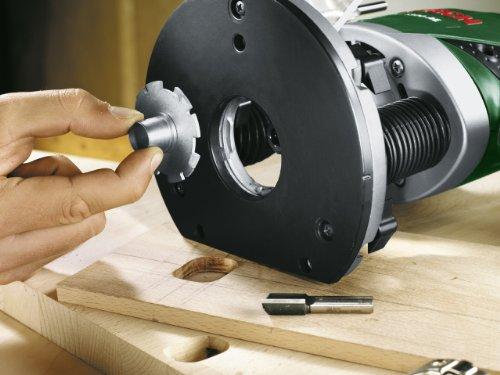 Bosch DIY Oberfräse POF 1200 AE, Nutfräser, Absaugadapter, Gabelschlüssel, Kopierhülse, Parallelanschlag, 3 Spannzangen, Zentrierstift (1.200 W,max. 28.000 1/min, Nutfräser-Ø 8 mm) - 5