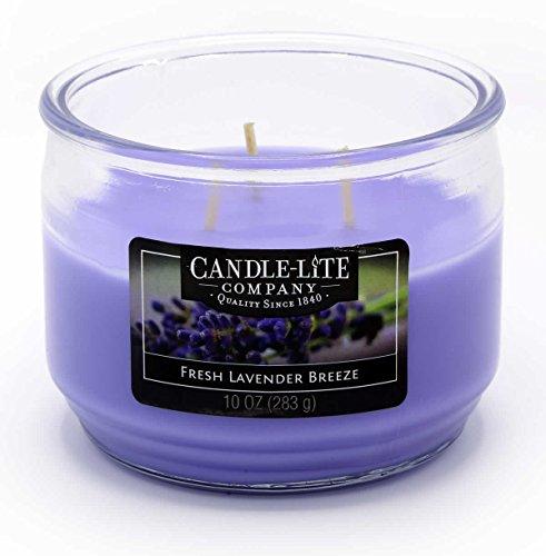 Candle Lite-3-Mecha de Vela perfumada Cristal, Fresh Lavender Breeze 283g, Lila, 10.5x 10.5x 8.2cm