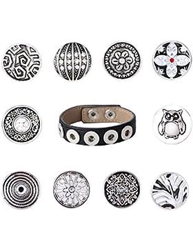 Morella Damen SMALL Click-Button Starter-Set Armband schwarz 10 SMALL Click-Button Druckknöpfe 12 mm
