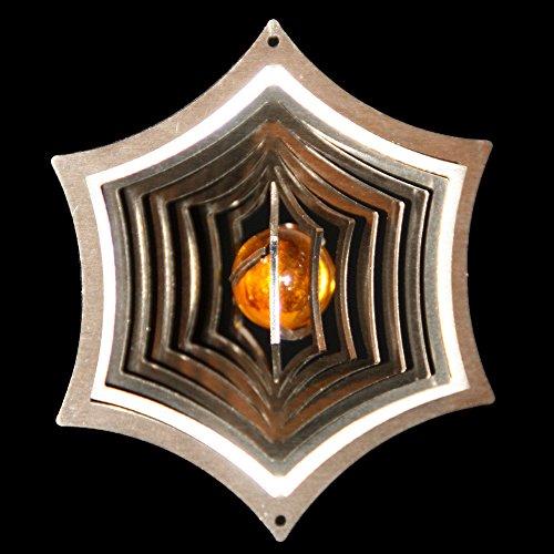 Toile d'araignée ø- carillon éolien en acier inoxydable avec boule de verre ø- 8,5 cm 16 mm (jaune) pour le jardin et comme fensterschmuck