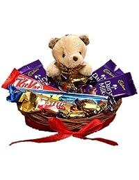 SFU E Com Chocolate with Cute Teddy Hamper | Gift for Holi, Rakhi, Diwali, Anniversary, Birthday, Christmas, Valentine, Her, Him | Assorted Chocolate Gift | 006