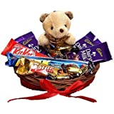 SFU E Com Chocolate with Cute Teddy Hamper | Gift for Rakhi, Diwali, Anniversary, Birthday, Christmas, Valentine, Her, Him | Assorted Chocolate Gift | 006