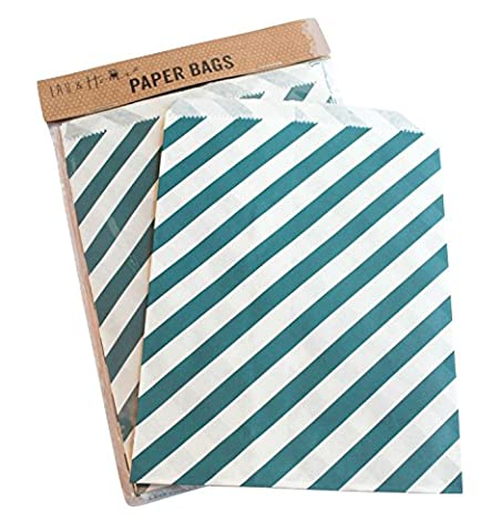 25 Party Striped Paper Bag / Candy Sweet Gift , 13x18cm , Birthday & Wedding - Blue
