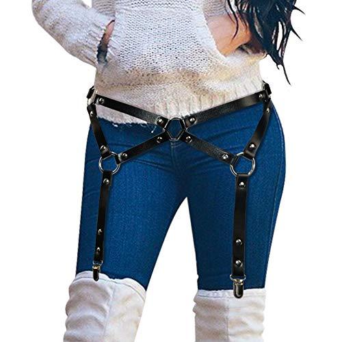Homelex Sexy Punk Leder Taille Bein Caged Harness Gothic Strumpfband Für Damen ()
