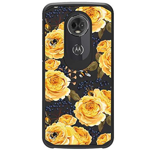 lle für Motorola Moto E5 Plus, Moto E5 Supra, luxuriöse Schutzhülle, niedliche Hybrid-Hülle für Mädchen, Tropische Drucke, Blumenmuster, 2-teiliges Hybrid-Case, Bumble Bee Roses ()