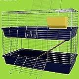 Heimtiercenter XXL 1,20 m doppel Hasenkäfig Meerschweinchenkäfig grün/grau/blau