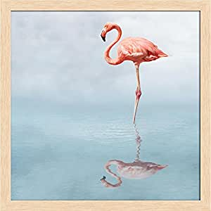 ArtzFolio Flamingo in Water Canvas Painting Natural Brown Wood Frame