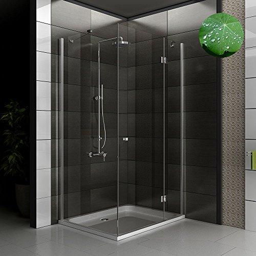 Eckeinstieg Duschkabine 80 x 100 cm mit Lotuseffekt ESG 6 mm Nano Glas Öffnung rechts und links Eckkabine und Drehtür von Alpenberger