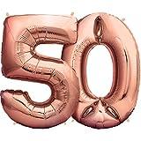Zenball Rose XXL Folienluftballon (100cm) - Zahl 50 - Riesige Heliumluftballons als Dekoration zum 50. Geburtstag
