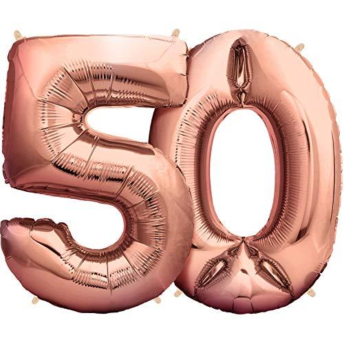 deloono Rose XXL Folienluftballons 100cm Riesige Heliumluftballons in Rose-Gold als Dekoration zum Geburtstag (Nr. 50)