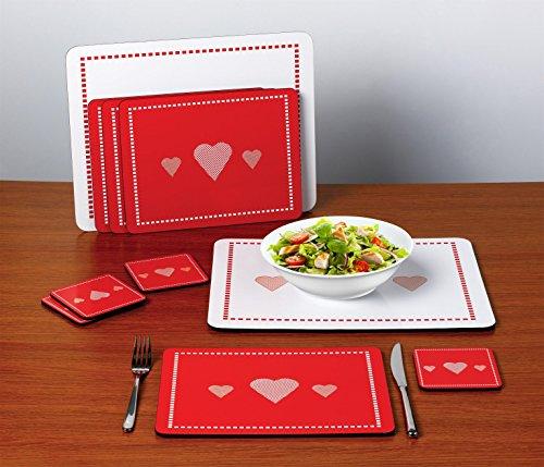 Conjunto de 10 manteles individuales rojos y blancos con corazones width=