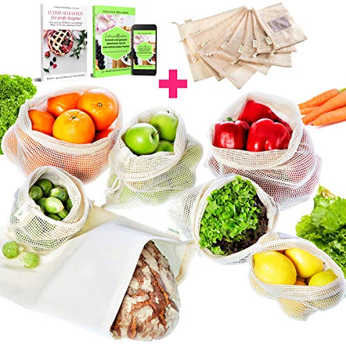 EarthMe 7er Set Wiederverwendbare Gemüsebeutel Zum Plastikfreien Einkaufen - Bio Baumwolle - 6 Obstbeutel Inkl. XL Brotbeutel& 2 E-Books - Robuste & Umweltfreundliche Obst- und Gemüsenetze -