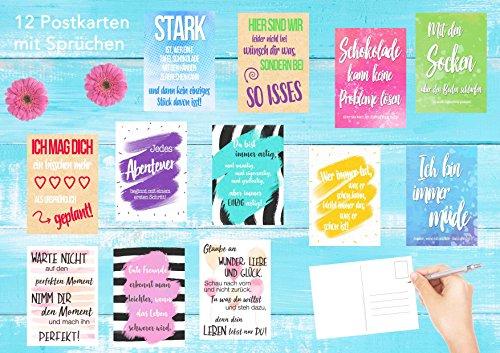 Set 12 Postkarten Mit Spruchen Karten Mit Spruch Geschenkidee