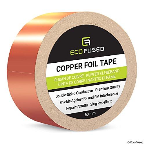 Premium selbstklebendes Kupferfolienband - Doppelseitig leitfähig - 2 Zoll (50 mm) - EMI- und HF-Abschirmung, Papierschaltungen, elektrische Reparaturen, Erdung, Home Interior, Schnecken abweisend (Ebene Elektrischer)