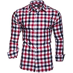 Kayhan Hombre Camisa Slim fit, Quadri Doppelfarbig Red S