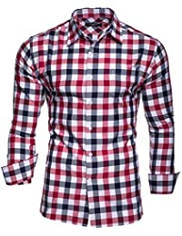 Kayhan Hombre Camisa Manga Larga Slim Fit S - 6XL - Modello Oktoberfest Quadro