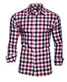 Kayhan chemise pour homme Slim Fit - Rouge - Large