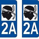 2 Stickers Autocollant style Plaque Immatriculation département 2A