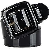 SAIBANGZI Cinturón de Cuero de la Mujer de Charol Ancho Sello Decorativo Vestido Abajo Chaqueta Correa Ancha cinturón de Cuer