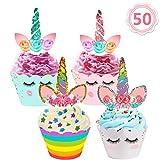AILUKI 50 Stücke Einhorn Mini Cupcake Toppers und Wrappers Verpackung Beidseitig Handmade für Kinder Party Kuchen Dekorationen Geburtstag Deko