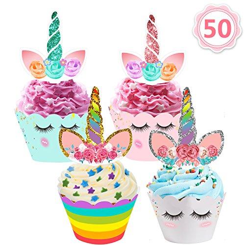 AILUKI 50 Stücke Einhorn Mini Cupcake Toppers und Wrappers Verpackung Beidseitig Handmade für Kinder Party Kuchen Dekorationen Geburtstag Deko - Geburtstag Cupcake