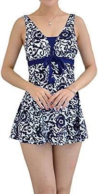 YoungSoul Traje de baño de una pieza bañador con falda ropa de baño con estampado de flores tallas grandes vestidos de baño para Mujer
