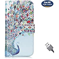 Funda Galaxy S5,Funda Cover Galaxy S5,Aireratze Slim Case de Estilo Billetera Carcasa Libro de Cuero,Carcasa PU Leather Con TPU Silicona [Estuche versátil de diseño en 1 en 1] Case Interna Suave [Función de Soporte] [Ranuras para Tarjetas y Billetera] [Cierre Magnético] para Samsung Galaxy S5 (Pavo real azul) (+ Cable USB)