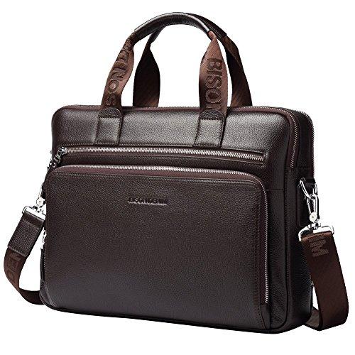 BISON DENIM Herren klassische echtes Leder Aktenkoffer Laptop Schulter Messenger Bag Business Tote - Denim Tote Bag Handtasche